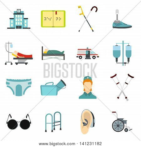Flat disabled people care icons set. Universal disabled people care icons to use for web and mobile UI, set of basic disabled people care elements isolated vector illustration
