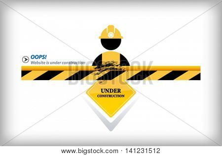 Illustration of a website under construction sign