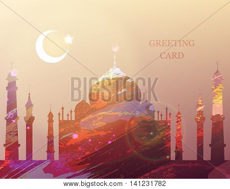 Eid Mubarak. Eid al-Fitr muslim traditional holiday. Muslim Community Festival celebration. Islamic abstract watercolor splash background with silhouette of a mosque. Editable vector illustration