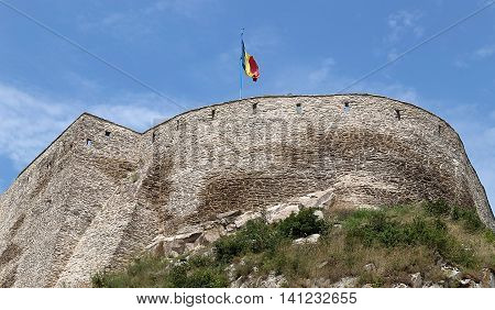 View of one part at the citadel ruins of Deva (Transylvania Romania). Built in 1250 is located at a height of 371 meters above the city.