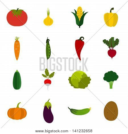 Flat vegetables icons set. Universal vegetables icons to use for web and mobile UI, set of basic vegetables elements isolated vector illustration