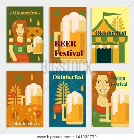 Oktoberfest banners and cards in flat style. Vector illustration for october festival with beer pretzel tent and waitress.
