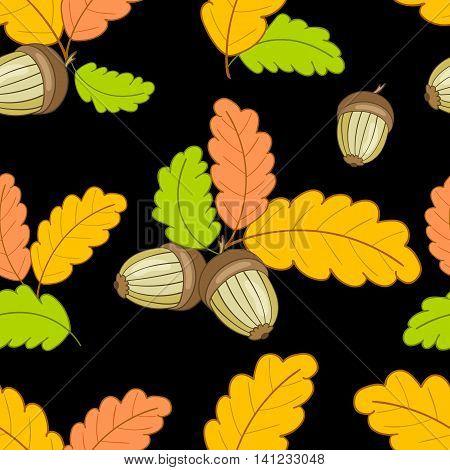 autumn seamless pattern with colorful oak leaves and acorns on a dark background.Vector illustration for web pages, cloth, textile, wrapping paper, scrapbooking, Wallpapers.
