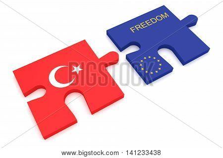 Turkey EU Crisis: Turkish Flag And EU Flag Freedom Puzzle Pieces 3d illustration