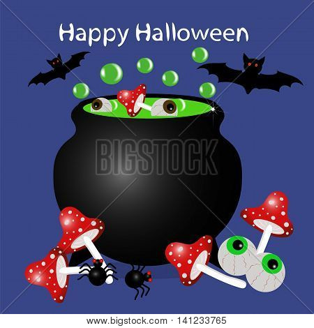 The boiler of potion vector illustration, Amanita, spider, bat, magic, Halloween, holiday