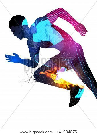 Double exposure effect vector illustration of a running sports man with texture effects.