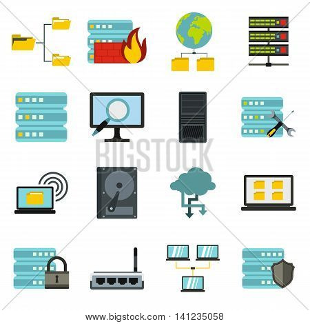 Flat big data icons set. Universal big data icons to use for web and mobile UI, set of basic big data elements isolated vector illustration
