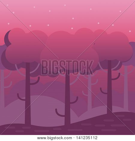 Game fantasy wood background. Mobile game level background. Forest backdrop concept for games cartoons and mobile app.