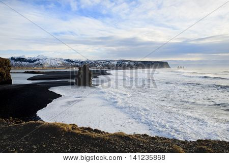 View of Dyrholaey in Iceland in February 2014