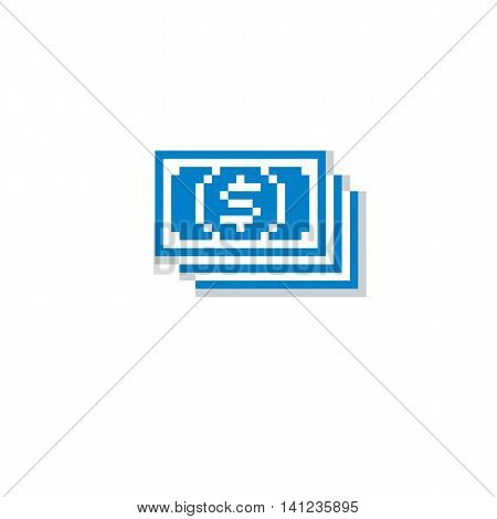 Vector flat icon simple geometric pixel symbol. Bundle of money digital web sign created in economics and finance concept.