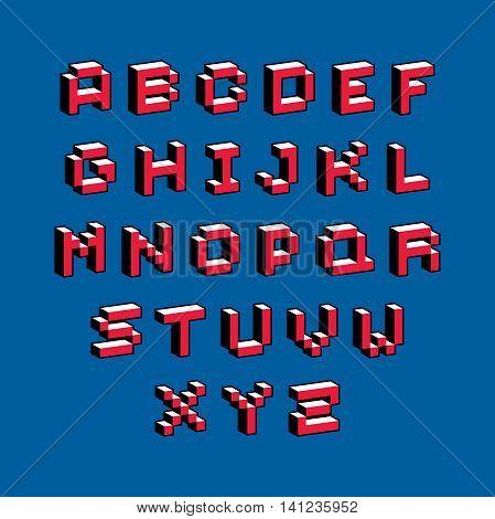 Cybernetic 3d alphabet letters pixel art vector digital typescript.