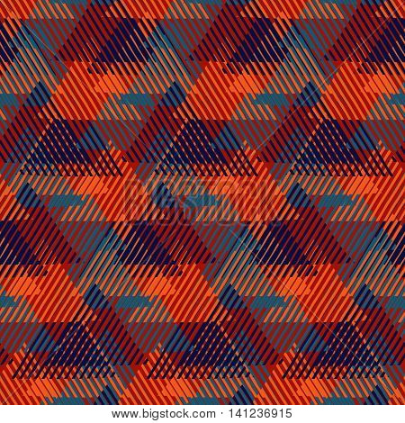Modern Christmas gift wrapping paper design with tweed look, cross lines, triangles, pyramids and abstract shapes. Lumberjack pattern in red colors. Bold funky print in op art style for winter fashion
