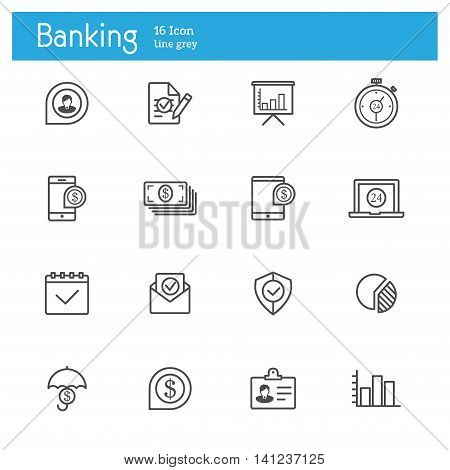 Banking line icons and Finance line icons