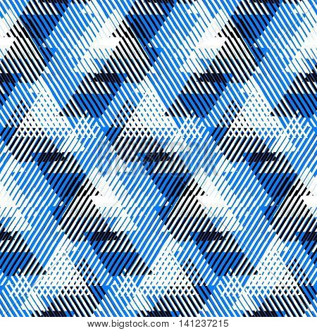 Vector geometric seamless pattern with lines, triangle, pyramids in black, white, bright  blue colors. Striped modern bold print in 1980 style for summer fall fashion. Abstract tech chevron background
