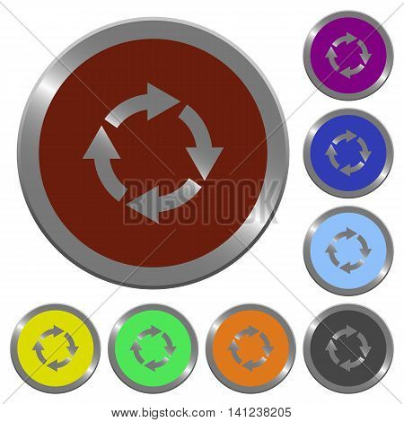 Set of color glossy coin-like rotate right buttons.