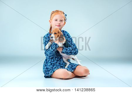 The happy girl and beagle puppie on gray background