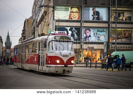 PRAGUE CZECH REPUBLIC - MARCH 5 2016: The vintage excursion tram number 14 parade goes on old town in Prague. on March 5 2016