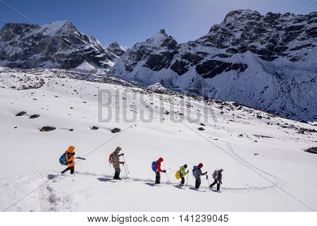 Everest Base Camp Trekking: trekkers making their way to final destination.