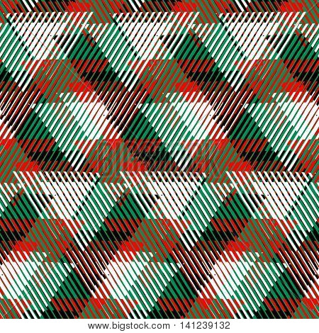 Vector seamless geometric pattern with striped triangles, abstract dynamic shapes in bright green, red colors. Hand drawn background with overlapping lines in 1980s fashion style. Modern textile print