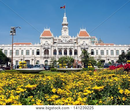 SAI GON, VIETNAM, February 10, 2015: the park flowers, the offices in the city of Sai Gon, Vietnam, Tet