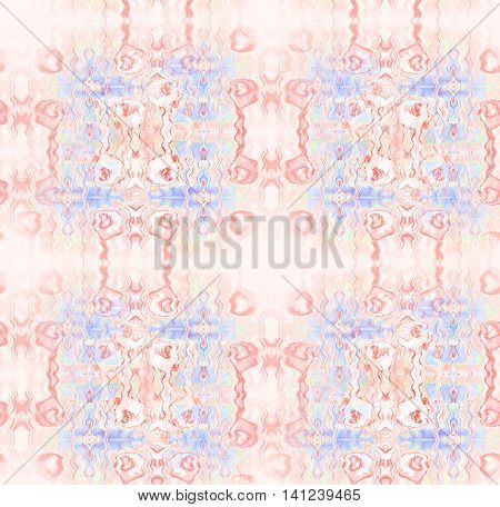 Abstract geometric seamless background. Delicate ornaments with wavy lines in pink shades with light blue, purple and beige elements, ornate and dreamy.