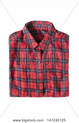 Red tartan shirt folded on white background