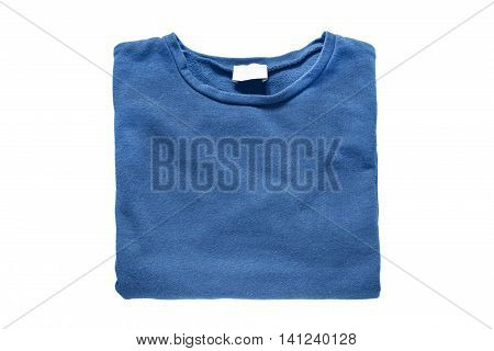 Folded blue sweatshirt isolated over white background
