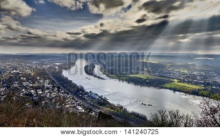 From the Drachenfels visitors have a spectacular view with a great dramatic sky on the Rhein valley and the river Rhein