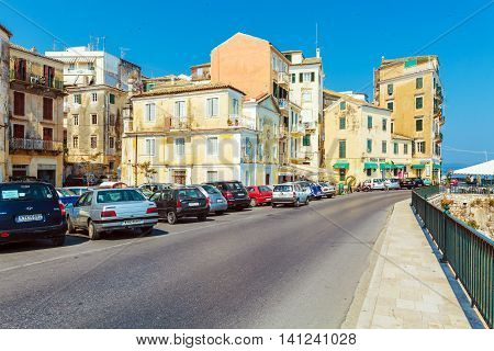 Corfu, Greece - July 13, 2011: Native People And Tourist Walking On The Streets Of Old City