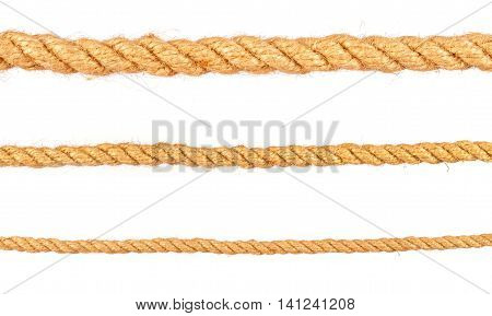 rope isolated on white background. Set of various ropes