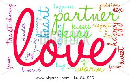 Love word cloud on a white background.