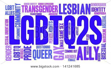 LGBTQ2S word cloud on a white background.