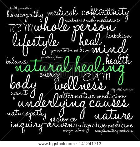 Natural Healing word cloud on a black background.