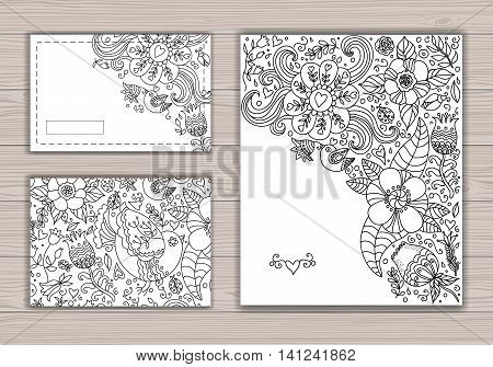 Black and white wedding card set with abstract background with contour drawing of flowers and birds. Vector illustration. Place for text. Easy to edit.