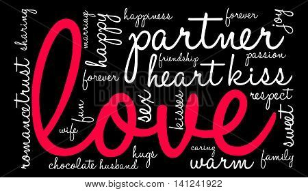 Love word cloud on a black background.
