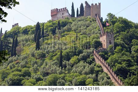 Ancient Wall Of Castle In The Northen Italy
