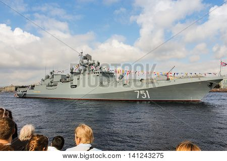 St. Petersburg, Russia - 31 July, Flagship warship Admiral Essen, 31 July, 2016. Festive parade of warships on the Neva River in St. Petersburg.
