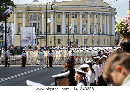 St. Petersburg, Russia - 31 July, Parade on St. Isaac's Square, 31 July, 2016. Military sailors on parade in honor of the Navy.