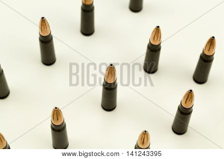Ak-47 Rifle Cartridge Hollow Point Bullet 7.62x39mm Top View Detail Of Hollow Point Ammo