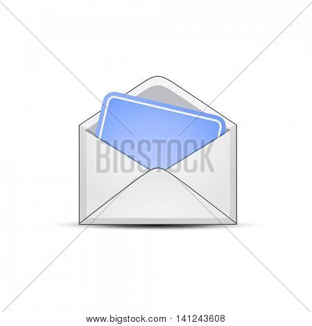 Open envelope with empty blue paper sheet. Vector illustration