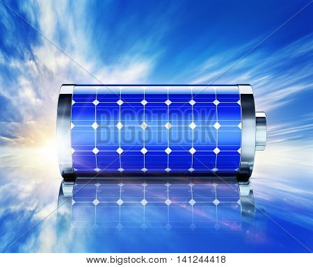 3D rendering of a battery with solar panels