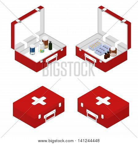 First aid kit in the isometric. Tablets ointment capsules inside. A box with a tablet. Medical supplies and tools. Primary care patient. Vector illustration.