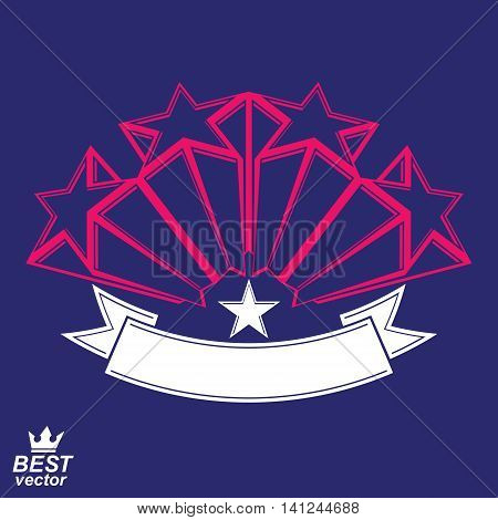 Vector corporate design element celebrative stars web emblem with decorative curvy ribbon..