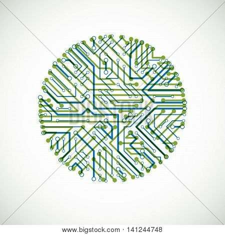 Vector Abstract Computer Circuit Board Colorful Illustration, Green And Blue Round Technology Elemen