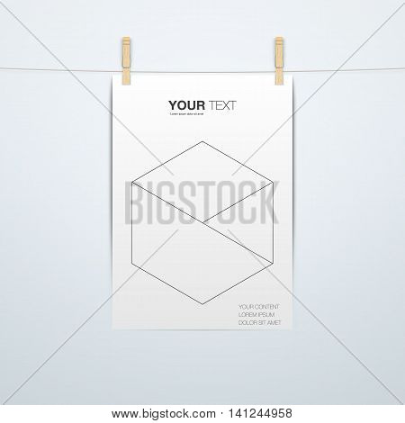 A4 Format paper design with clips and shadow Eps 10 vector illustration