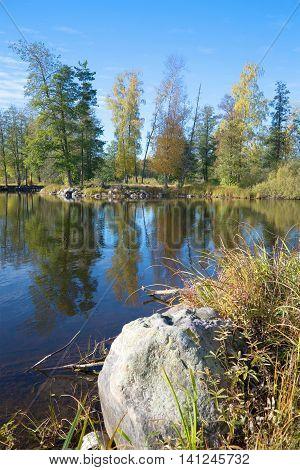 Sunny October day on the river Vuoksa. Leningrad region Russia