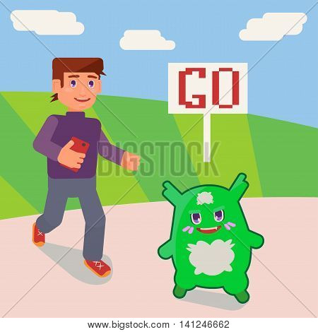 little green monster runs away from a boy with the phone
