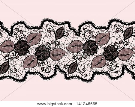 Seamless lace ribbon with abstract floral pattern. Suitable for issuing invitations greeting cards and gift wrapping. Vector illustration.