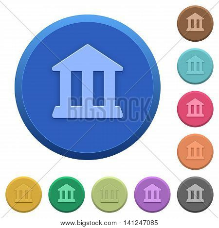 Set of round color embossed bank buttons