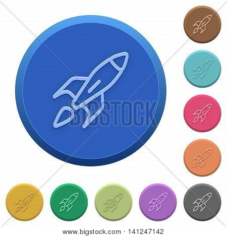 Set of round color embossed launched rocket buttons